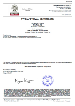 BV Certifies Unifire Force Robotic Nozzles – Type Approval Certificate Issued