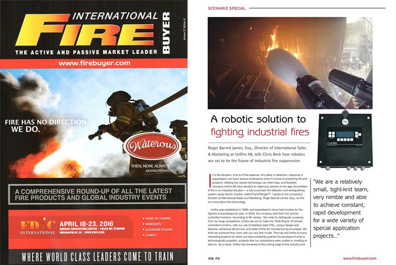 International Fire Buyer Magazine Features Unifire FlameRanger