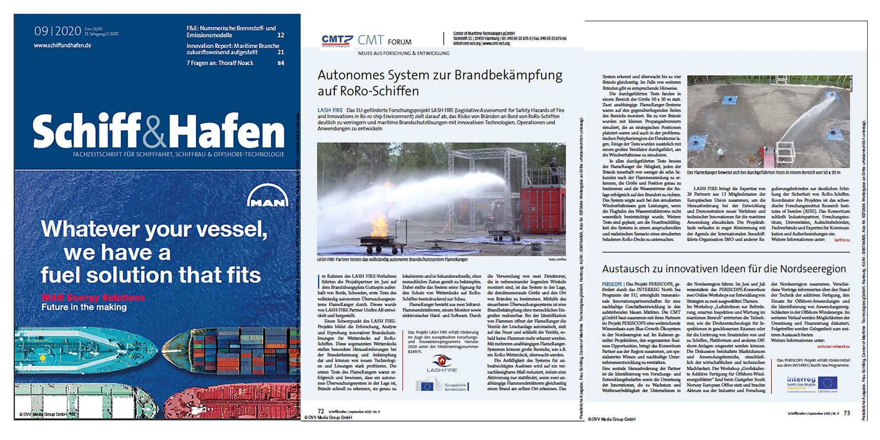 Unifire FlameRanger Article by Center for Maritime Technologies in Schiff&Hafen Magazine