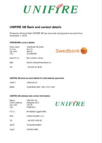 Unifire Bank Details